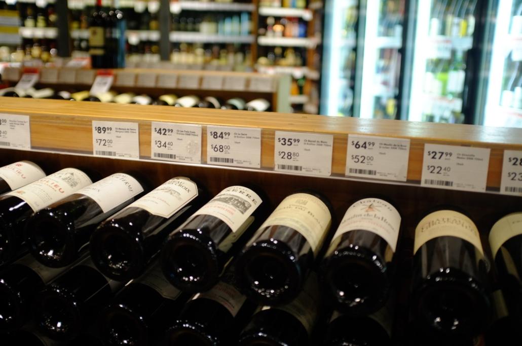 Wine bottles at LCBO retail security toronto